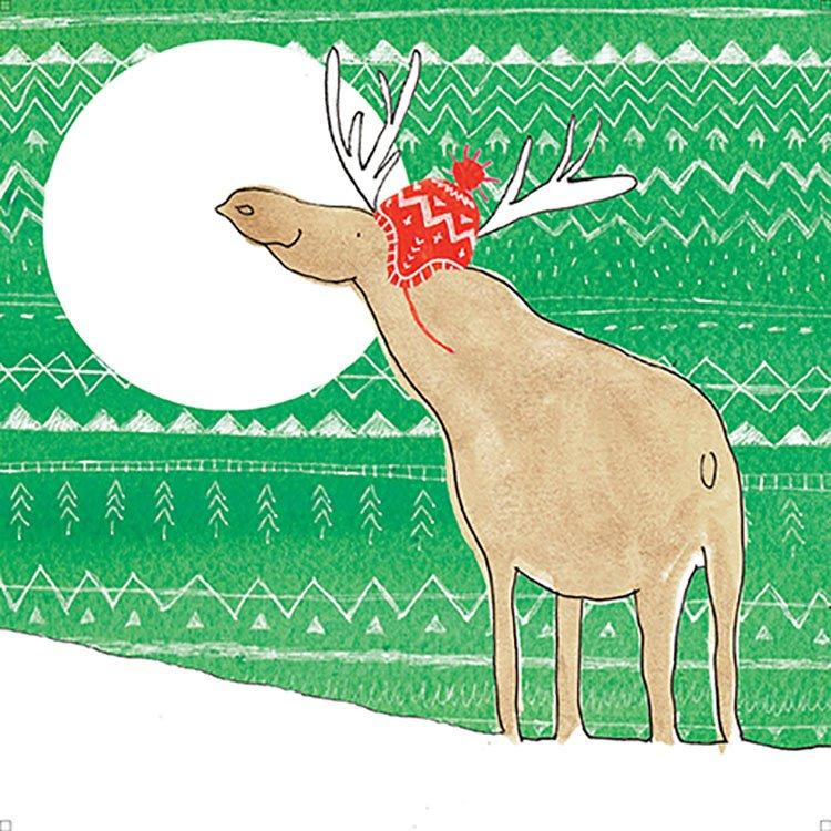 Moose in christmas hat