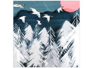 Winter woodland geese