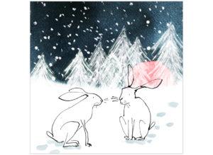 Winter woodland hares