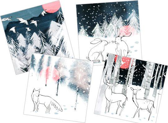 Winter woodland Christmas cards