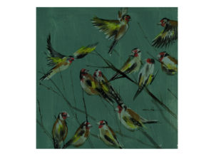 goldfinches on green laura mckendry bird illustrator