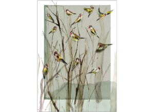 goldfinches on twigs Laura mckendry
