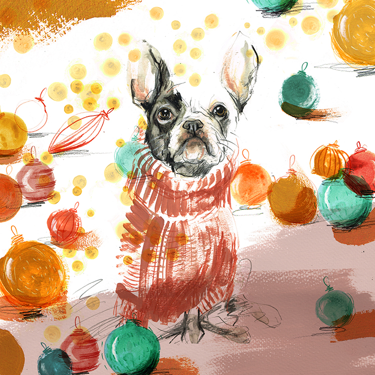 French bulldog with baubles